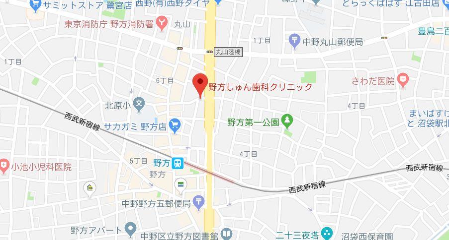 野方じゅん歯科クリニックマップ